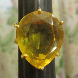 Vintage MONET Gold Citrine Ring Size 8.5